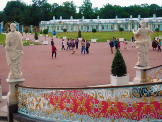 Looking out the front staircase of Catherine's Palace.  Beyond the green lawn is a bank of former guest rooms for visitors to the palace.