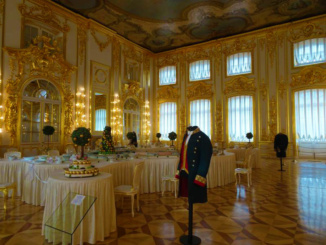 The Grand Hall of Catherine's Palace where the state receptions, full-dress dinners, fancy-dress balls and dances were held
