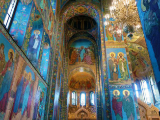 To create these magnificent murals, sketches were created by Russian painters, members of the Imperial Academy of Arts
