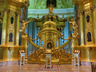 The cathedral's architecture features a unique iconostasis which rises to form a sort of tower over the sanctuary covered entirely in gold leaf