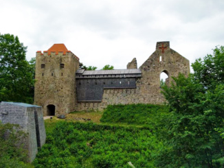 The ruins of Sigulda Medieval Castle built in 1207 and undergoing renovations to build roof tops
