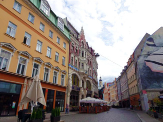 The town streets of Riga, with colorful decor and wall murals