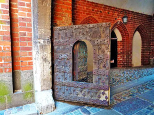 Iron doors like this one can be found throughout the castle.