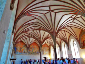 Beautiful vaulted ceilings in the Gothic hall in Malbork castle.