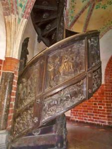 Unique metal spiral staircase inside of Malbork Castle.