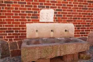Old water trough converted for visitors.
