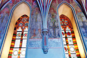 The artwork is still vivid as are the stained glass windows.