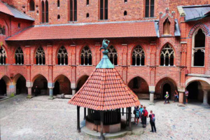 Medieval water well in the courtyard of Malbork Castle was a source of water at times of siege.