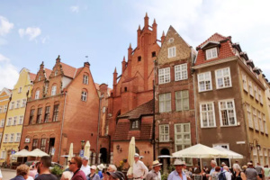 One of the main visitor areas in the town of Gdansk.