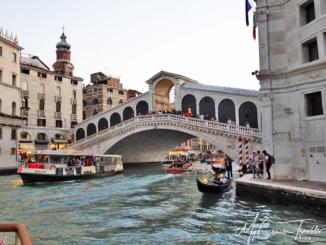 The Rialto Bridge in Venice Italy.