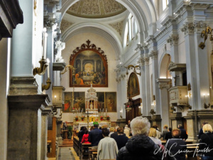 Inside the Church of Santa Maria Nascente which was relatively small but very quaint.