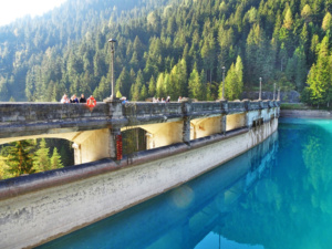 A view of the top of the Dam from the artificial Santa Caterina Lake.