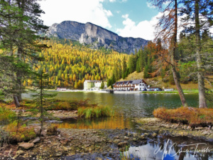 A great view of the Locanda Al Lago Restaurant from the opposite side of the Lake Misurina.