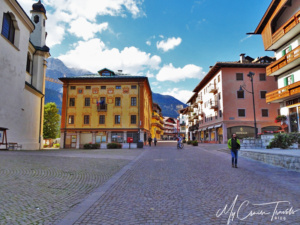 The quiet streets of Cortina d'Ampezzo ski town.
