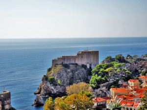 "Fort Lovrijenac or St. Lawrence Fortress, often called ""Dubrovnik's Gibraltar"" and the filming location for the 'Red Keep' (S2)."