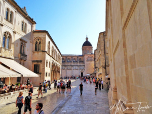 The famous Stradun street in Dubrovnik with its signature tiled pavement.